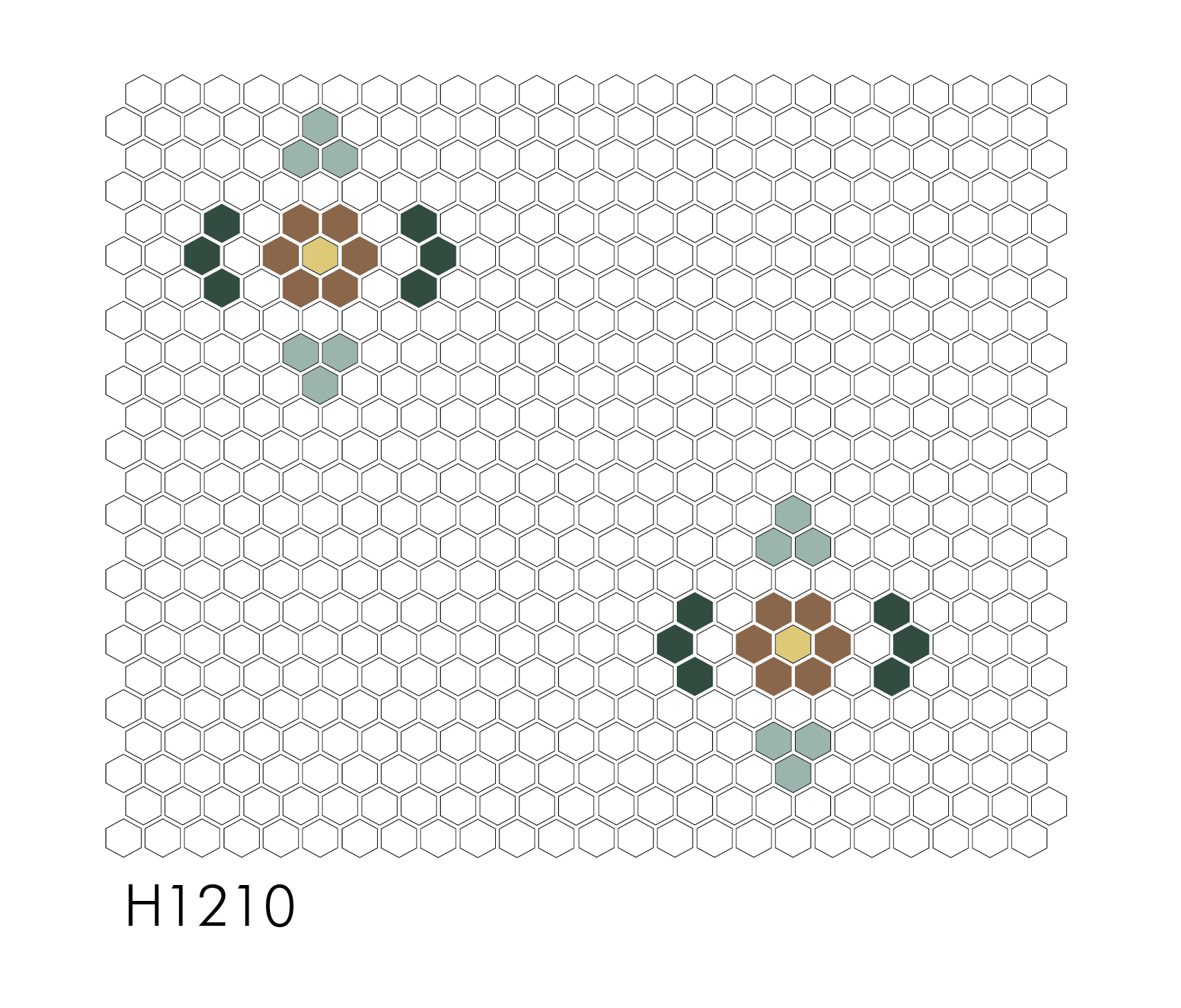 "H1210 Gardenside 1"" Hexagon Mosaic"