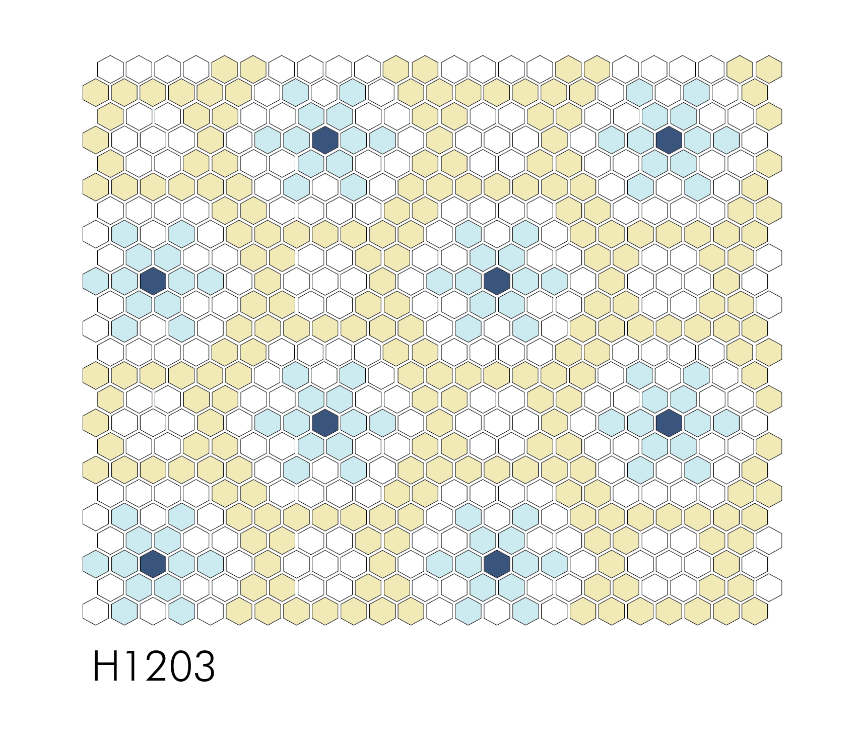 "H1203 Falling Snow 1"" Hexagon"